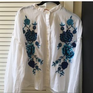 zara blouse white small